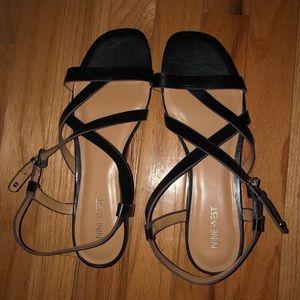 NWOT Nine West Black Strappy Sandals